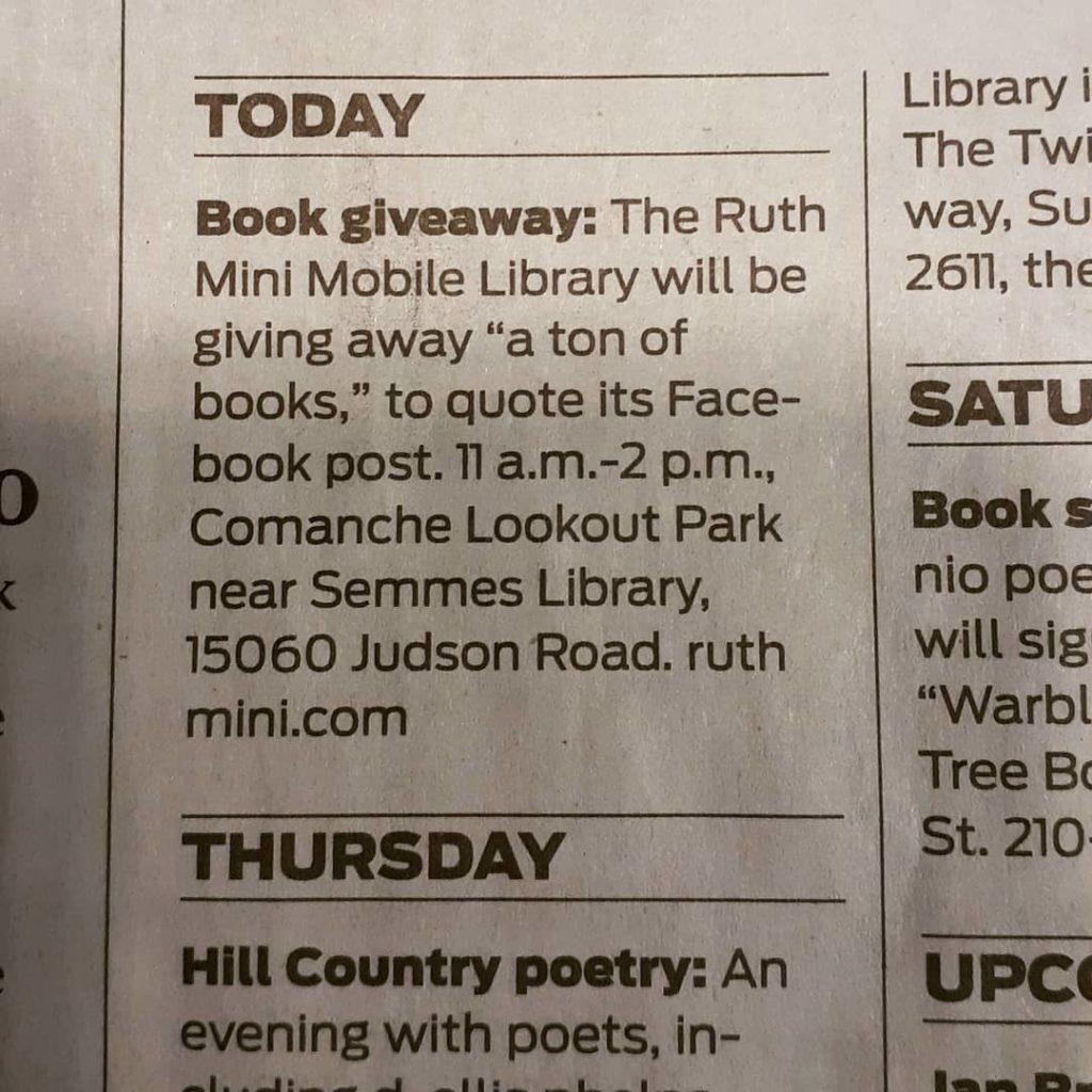 Ruth Mini Mobile Library Press Announcement